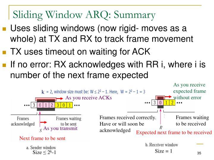 Sliding Window ARQ: Summary