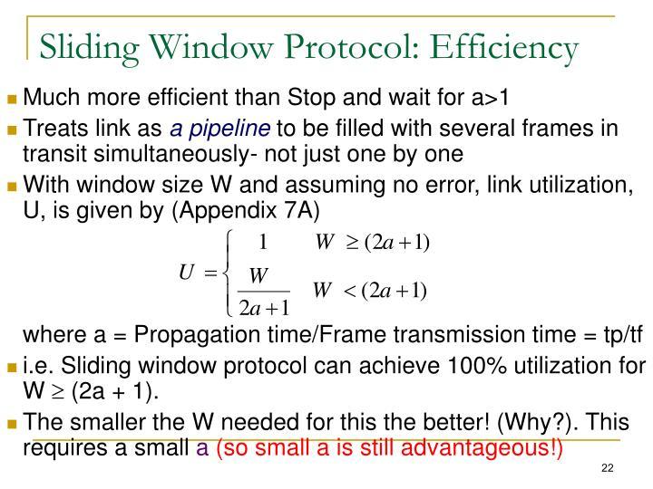 Sliding Window Protocol: Efficiency