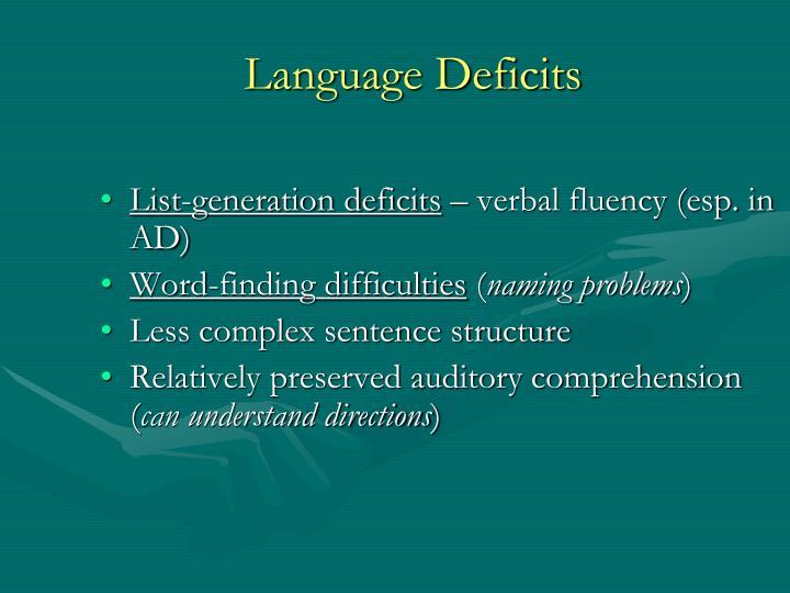 Language Deficits