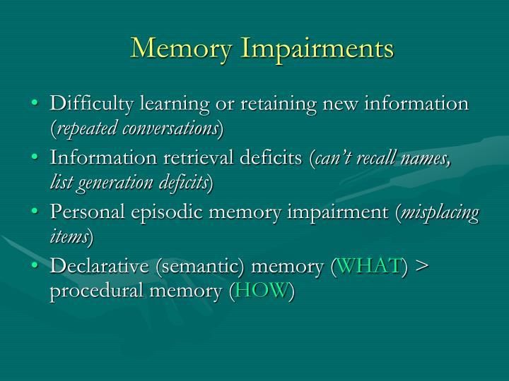 Memory Impairments