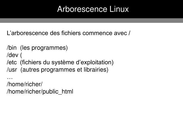 Arborescence Linux