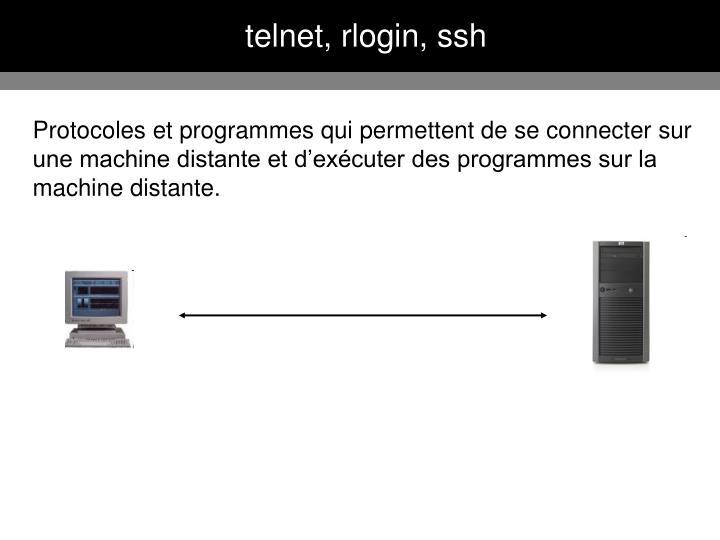 telnet, rlogin, ssh