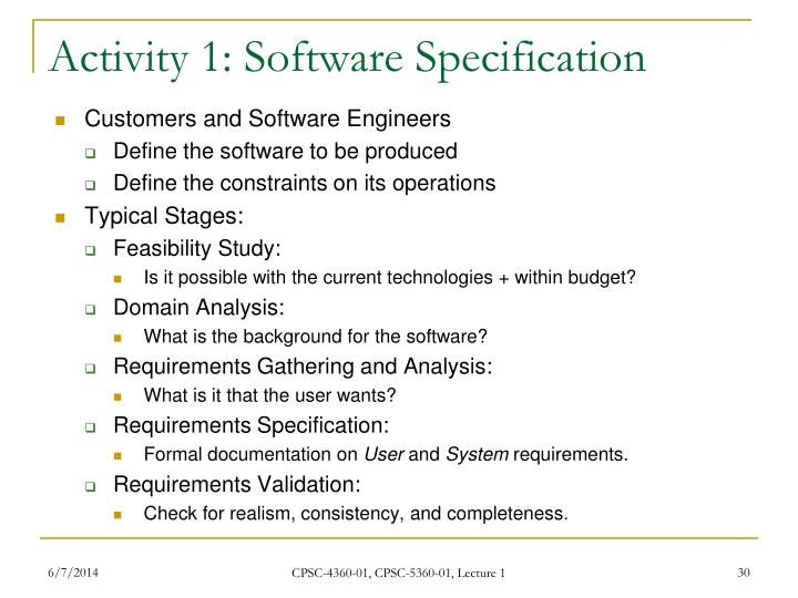 Activity 1: Software Specification
