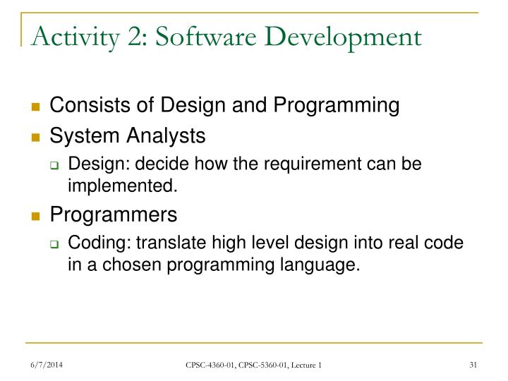 Activity 2: Software Development