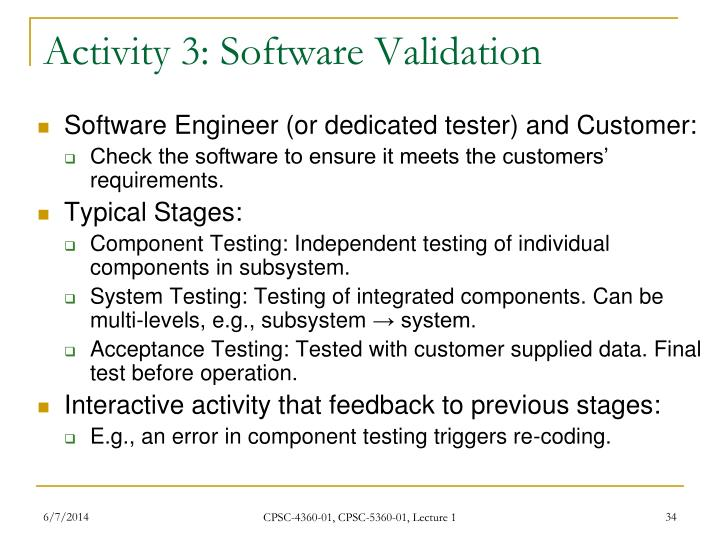 Activity 3: Software Validation