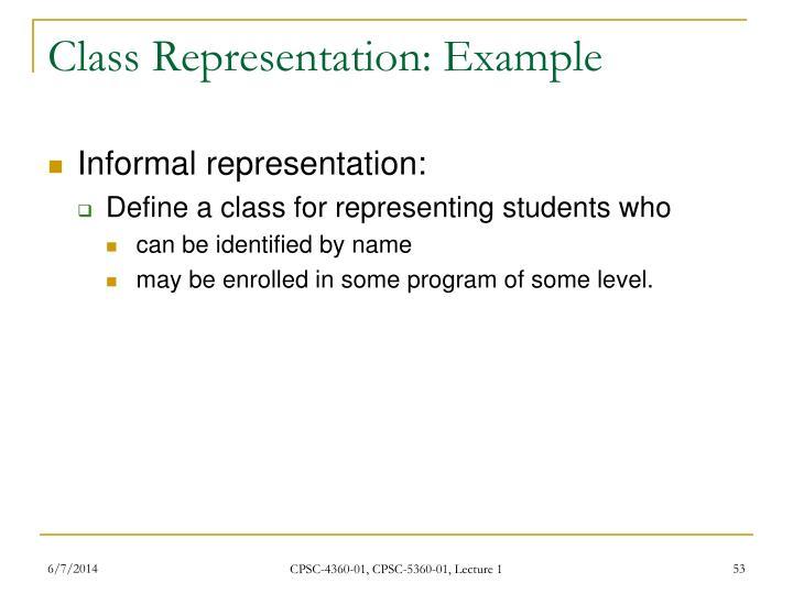 Class Representation: Example