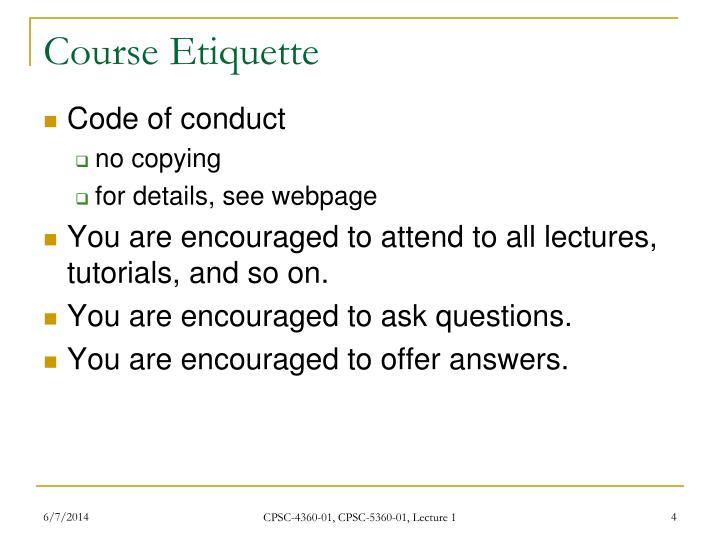 Course Etiquette