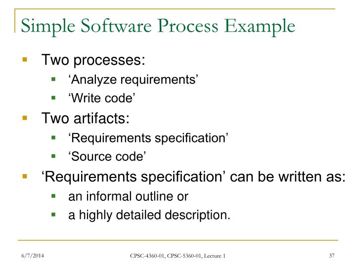 Simple Software Process Example