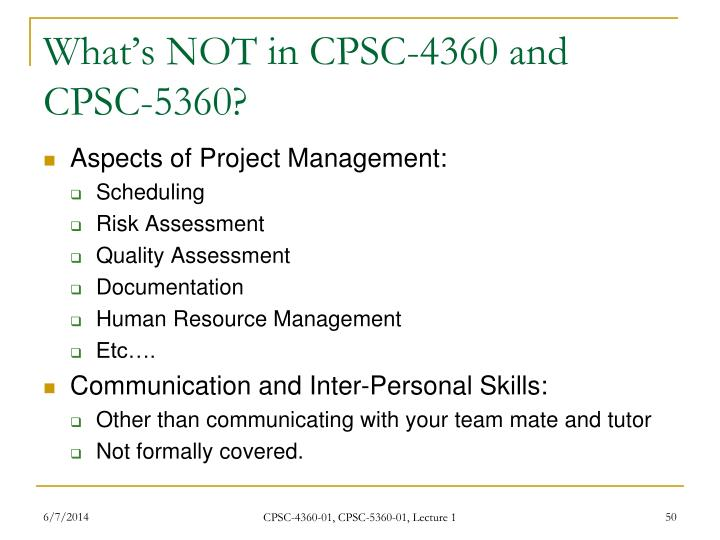 What's NOT in CPSC-4360 and CPSC-5360?