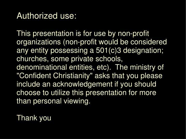 Authorized use: