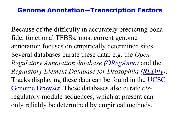 Genome Annotation—Transcription Factors