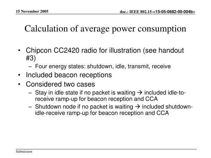 Calculation of average power consumption
