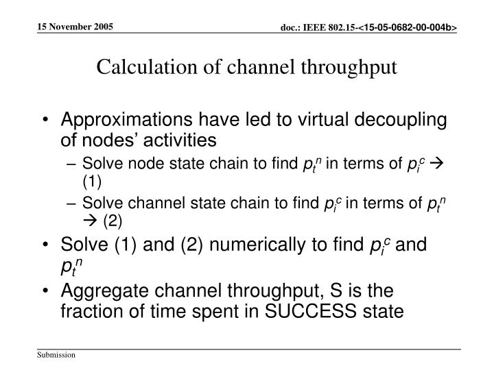 Calculation of channel throughput