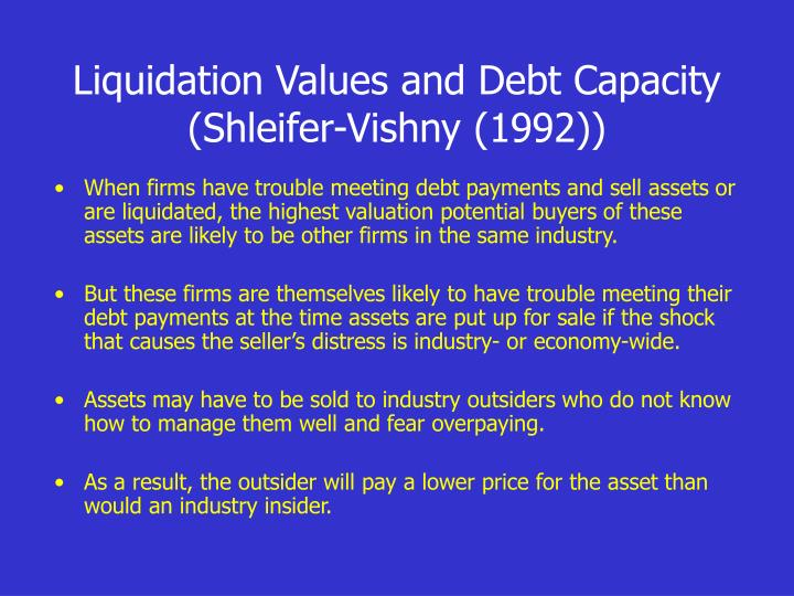 Liquidation Values and Debt Capacity