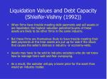 liquidation values and debt capacity shleifer vishny 1992
