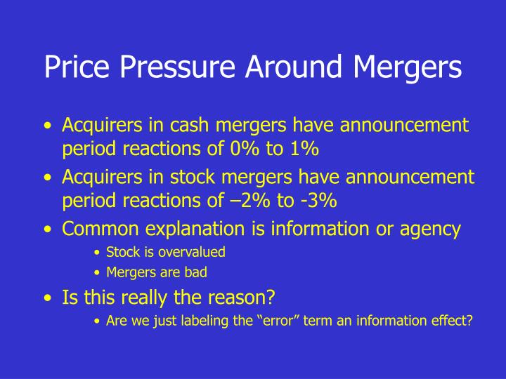 Price Pressure Around Mergers