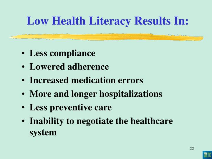 Low Health Literacy Results In: