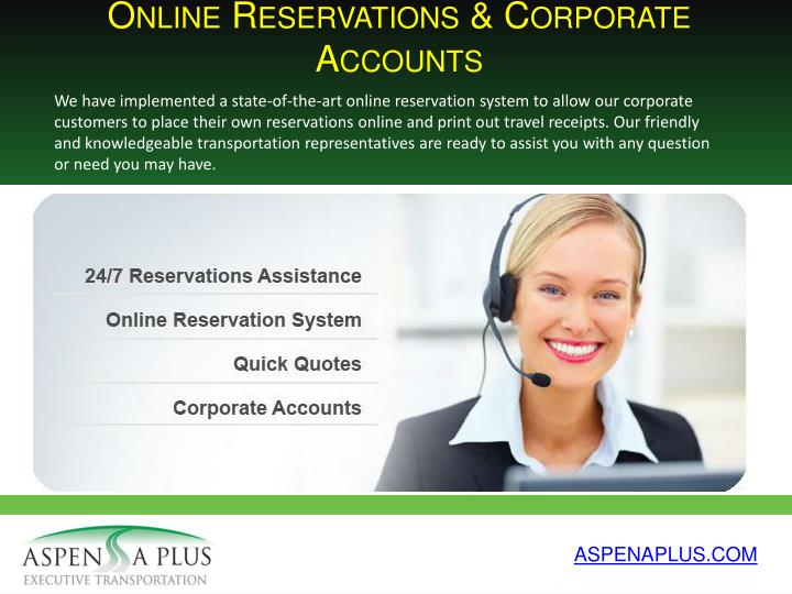 Online Reservations & Corporate Accounts