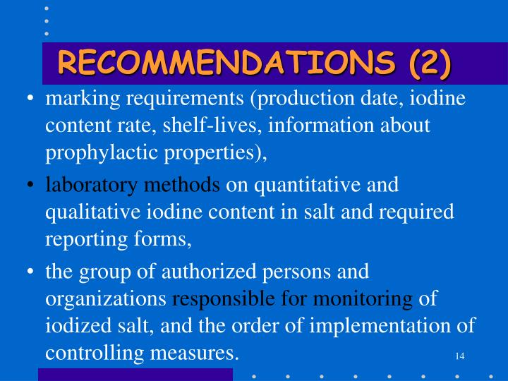 RECOMMENDATIONS (2)