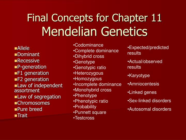 Final concepts for chapter 11 mendelian genetics