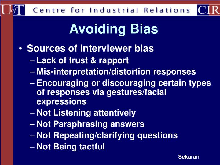 Avoiding Bias
