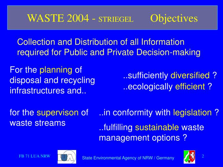 Waste 2004 striegel objectives