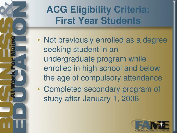 ACG Eligibility Criteria: