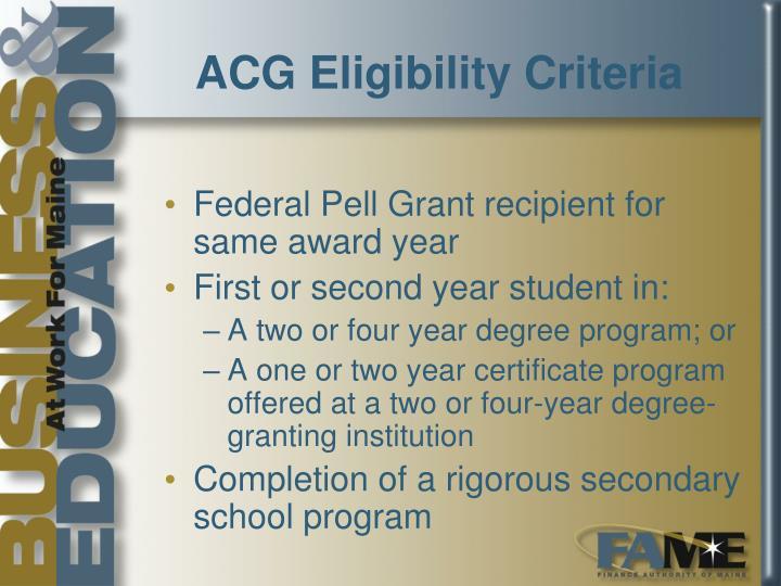 ACG Eligibility Criteria