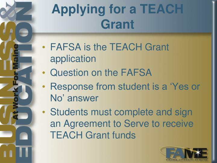 Applying for a TEACH Grant