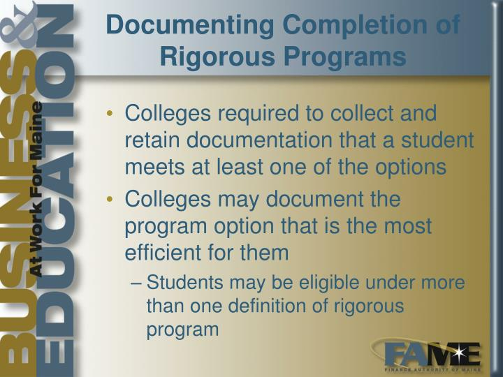 Documenting Completion of Rigorous Programs