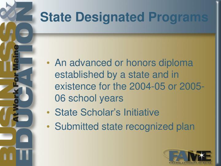 State Designated Programs