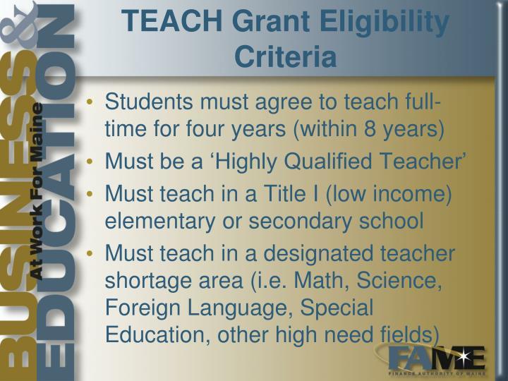 TEACH Grant Eligibility Criteria