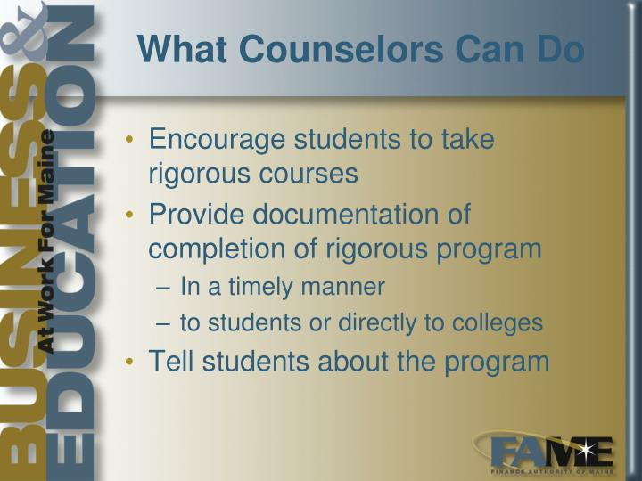 What Counselors Can Do