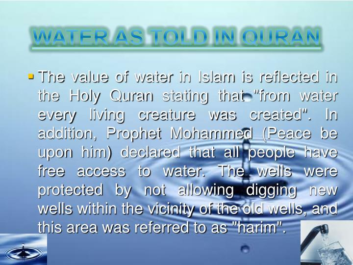 WATER AS TOLD IN QURAN