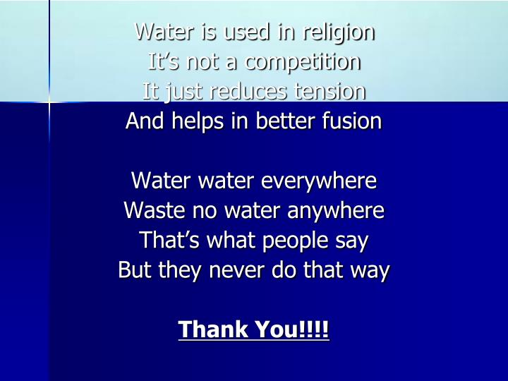 Water is used in religion