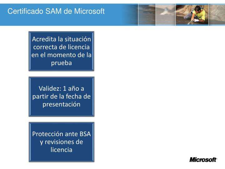 Certificado SAM de Microsoft