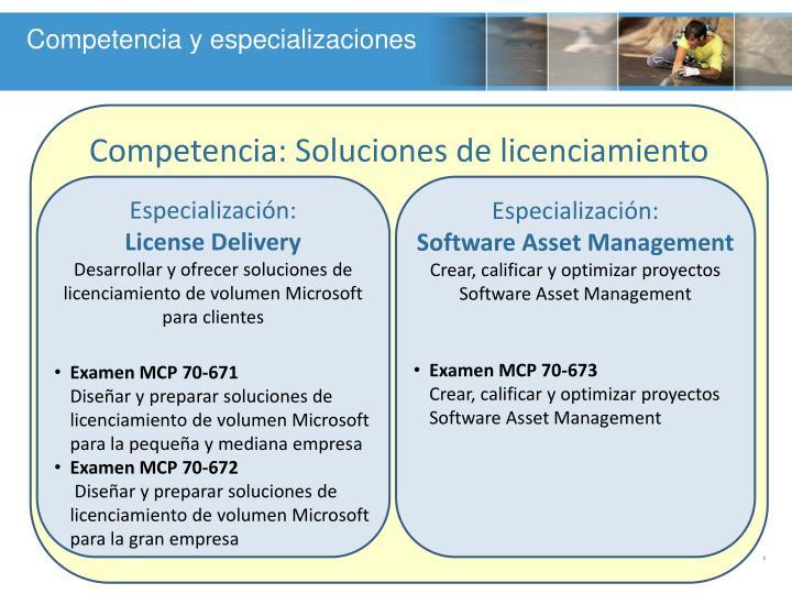 Competencia y especializaciones