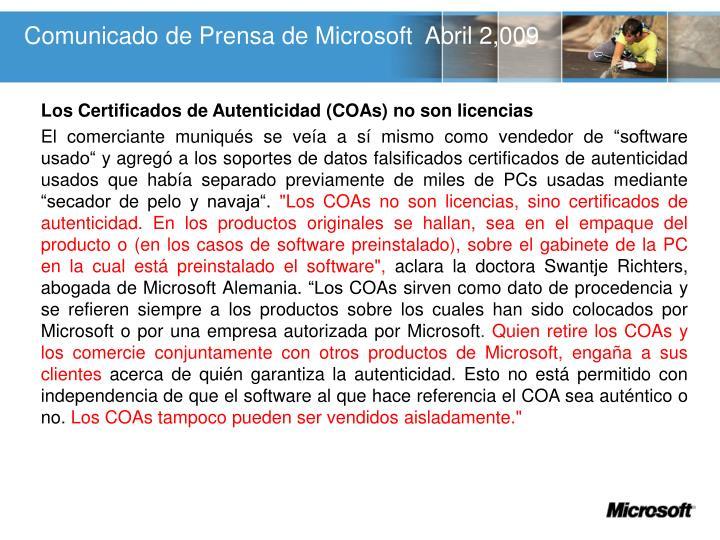Comunicado de Prensa de Microsoft