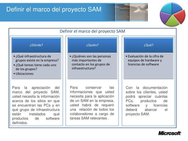 Definir el marco del proyecto SAM