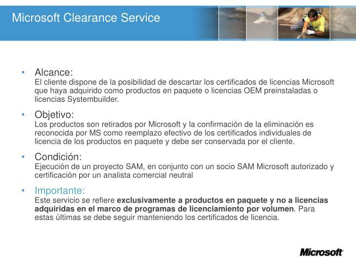 Microsoft Clearance Service