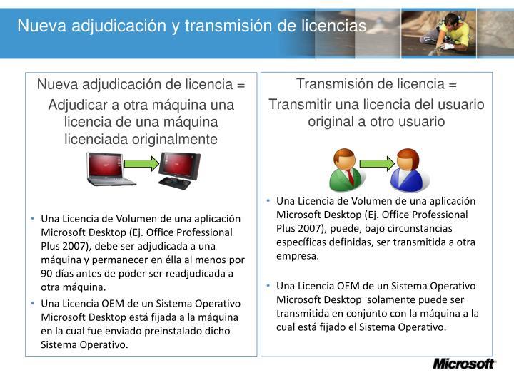 Nueva adjudicación y transmisión de licencias