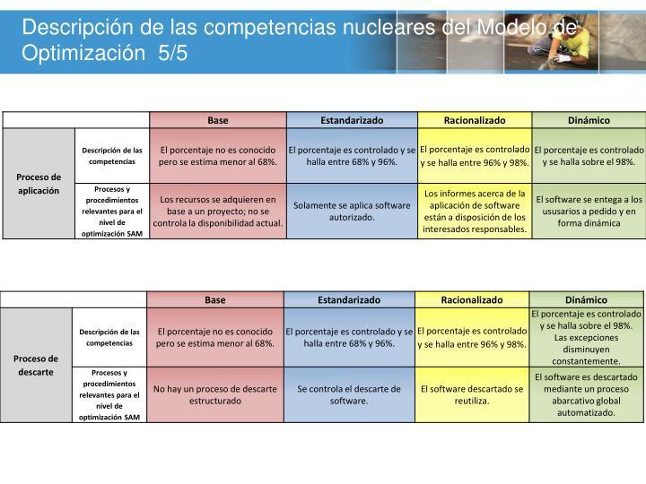 Descripción de las competencias nucleares del Modelo de Optimización