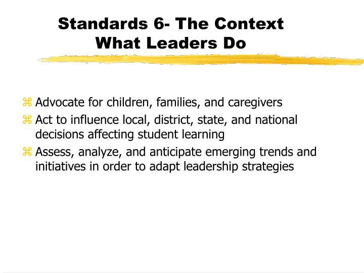 understanding the isllc standards Develops a shared understanding of and committment to high standards for all students and closing achievement gaps isllc 2 - teaching & learning - building professional culture guides and supports job-embedded, standards-based professional development that meets the learning needs of all students and staff.