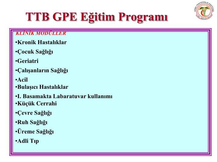 TTB GPE Eğitim Programı