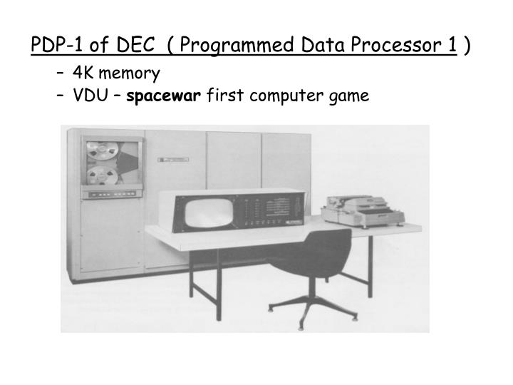 PDP-1 of DEC  ( Programmed Data Processor 1