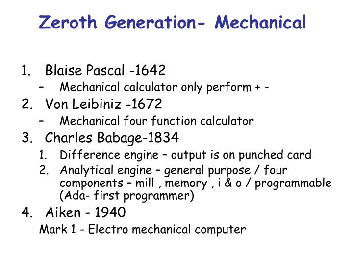 Zeroth Generation- Mechanical