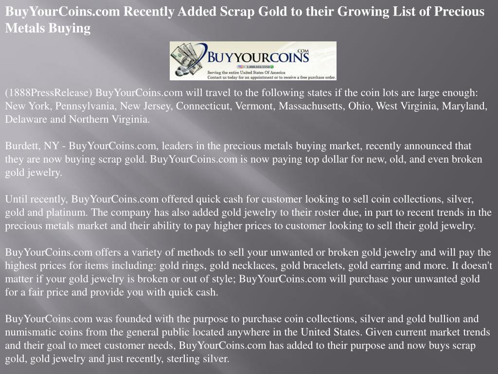 BuyYourCoins.com Recently Added Scrap Gold to their Growing List of Precious Metals Buying