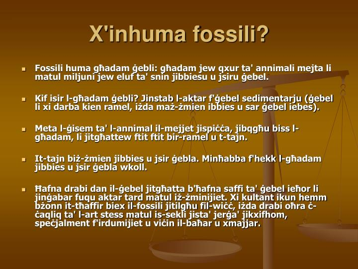 X'inhuma fossili?