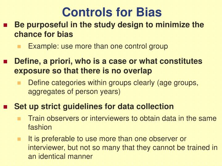 Controls for Bias