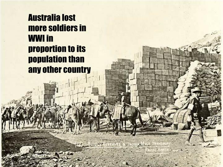 Australia lost more soldiers in WWI in proportion to its population than any other country